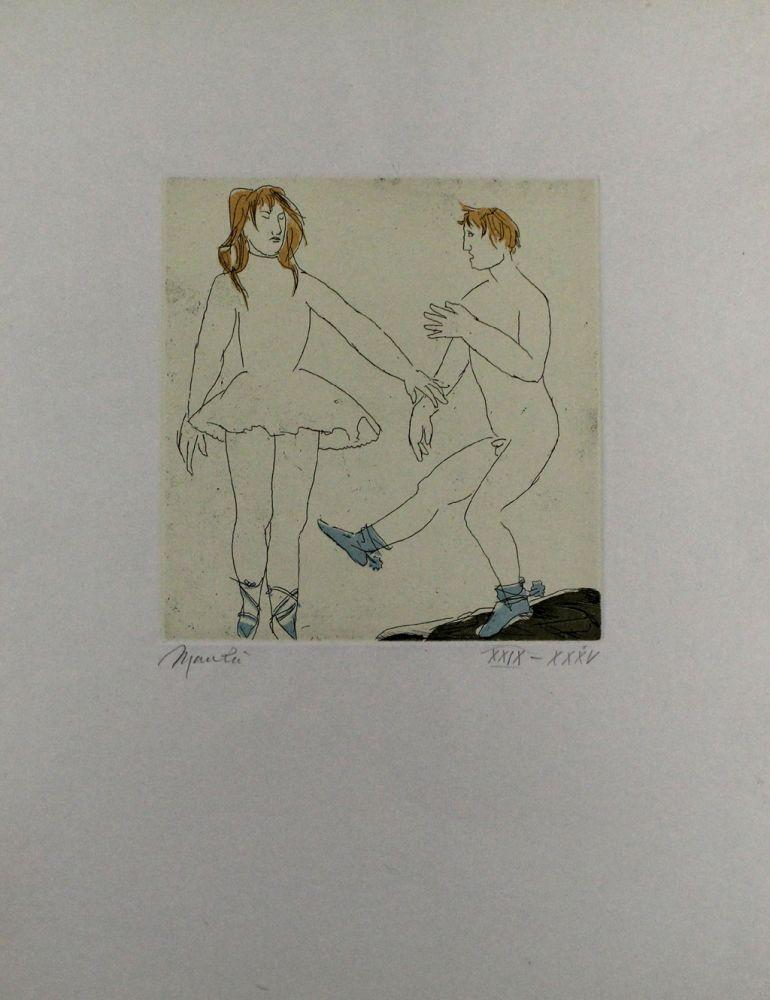 Etching And Aquatint Manzu - Passo di danza II