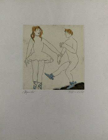 Etching And Aquatint Manzu - Passo di danza II