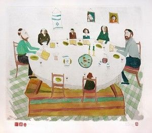 Etching Van Der Westhuizen - Passover meal