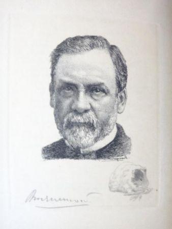 Etching Bracquemond - Pasteur et les pastoriens.  Avec un portrait à l'eau-forte par Bracquemond