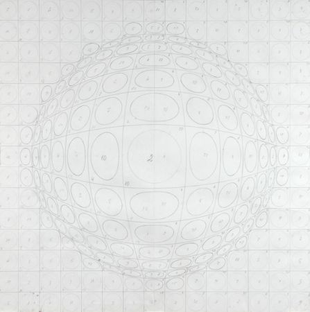 Lithograph Vasarely - Pattern for a silk print