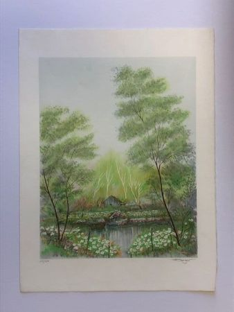 Lithograph Berger - Paysage