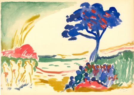 Pochoir Derain - PAYSAGE À L'ARBRE BLEU (1909) de l'album : Douze Contemporains par J. Lassaigne (1959)