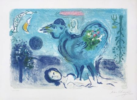 Lithograph Chagall - Paysage au coq