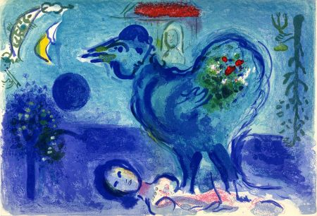 Lithograph Chagall - PAYSAGE AU COQ (Landscape with rooster) 1958.