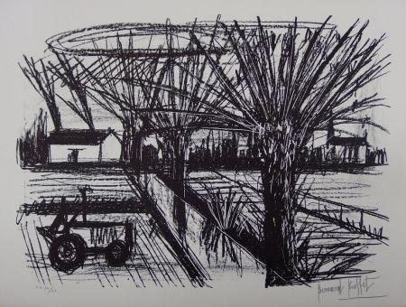 Lithograph Buffet - Paysage breton au tracteur