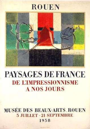 Lithograph Villon -  Paysage de France  Rouen