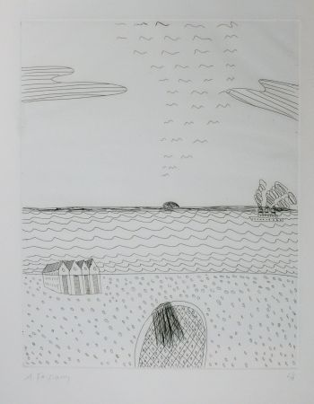 Drypoint Fassianos - Paysage de mer
