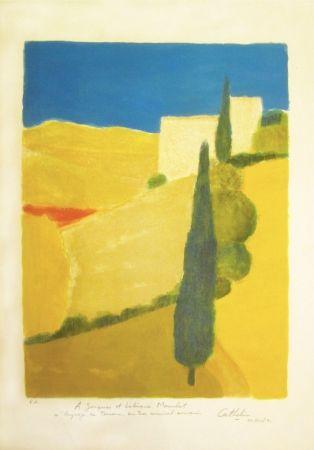 Lithograph Cathelin - Paysage de Toscane