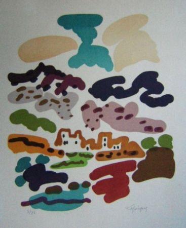 Lithograph Lapicque - Paysage en Espagne