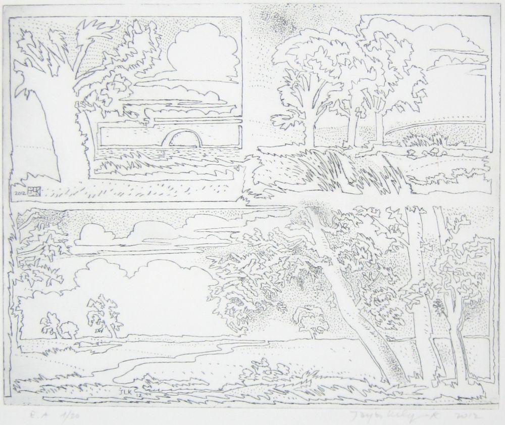 Engraving Leclercq-K. - Paysage en un seul trait