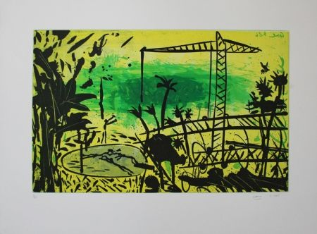Aquatint Cane - Paysage jaune