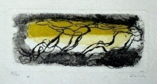 Etching And Aquatint Fautrier - Paysage jaune et violet