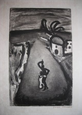 Engraving Rouault - Paysage Tropical