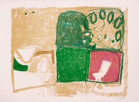 Lithograph Kimura - Paysage vert et violet