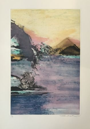 Etching And Aquatint Zao - Paysage Violet