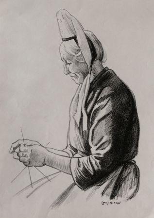 Lithograph Moreau - Paysanne Bretonne / Brittany Farmer - France 1908