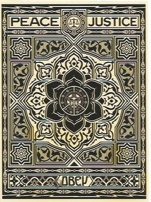 Screenprint Fairey - Peace and Justice Ornament (Black)
