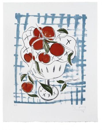 Lithograph Szczesny - Peach Still Life