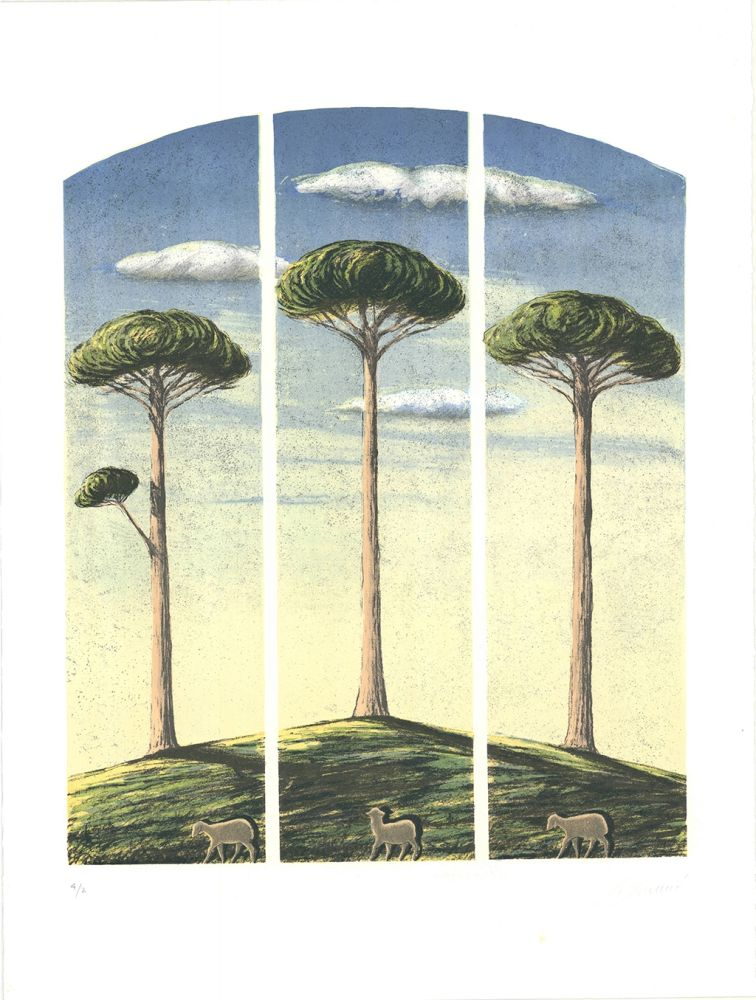 Lithograph Lazzeri - Pecore al albero