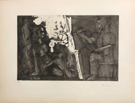 Aquatint Picasso - Peintre à son chevalet, avec un modèle assis