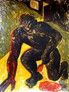 Lithograph Barcelo - Peintre agenouillé
