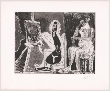 Etching And Aquatint Picasso - Peintre avec le portrait d'un jeune garçon, dans son atelier.