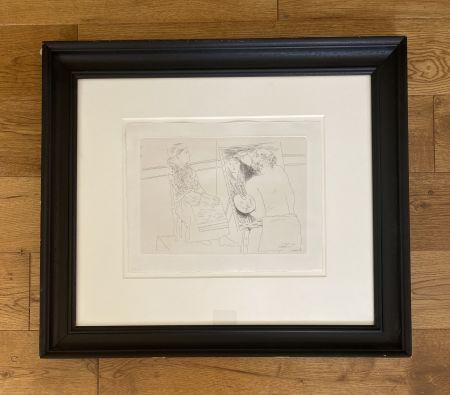 Etching Picasso - Peintre Chauve devant son Chevalet