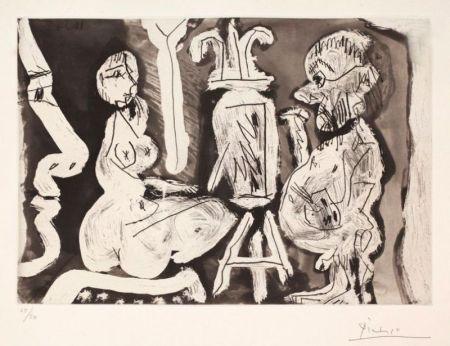 Etching And Aquatint Picasso - Peintre et modèle avec spectateur