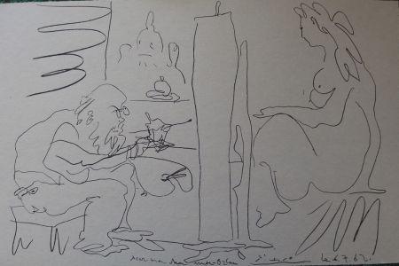 Lithograph Picasso - Peintre et modèle dans l'atelier