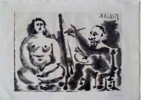 Aquatint Picasso - Peintre Et Modèle IV