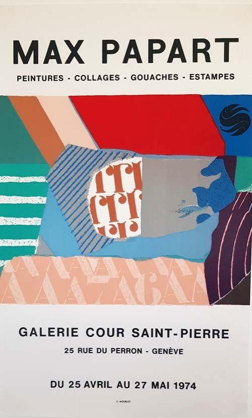 Lithograph Papart - Peintures Collages  Gouaches  Estampes Galerie Cour St Pierre