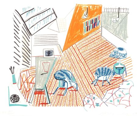 Lithograph Hockney - Pembroke Studio With Blue Chairs And Lamp