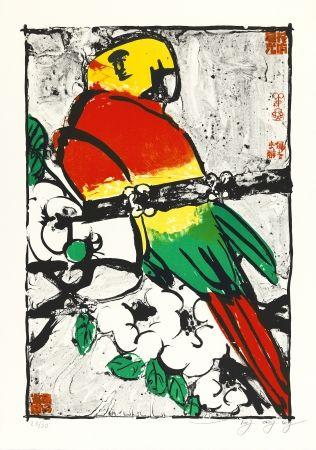 Lithograph Tongzhengang - Perroquet fond blanc