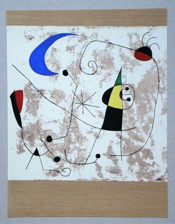 Pochoir Miró - Personnage dans la nuit