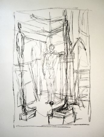 Lithograph Giacometti - Personnage dans l'atelier