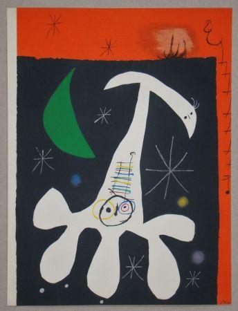 Pochoir Miró - Personnage et Oiseau II