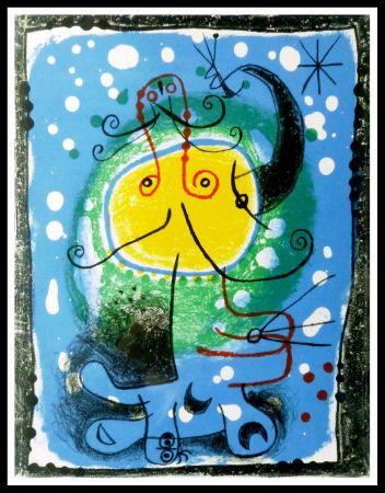 Lithograph Miró - PERSONNAGE SUR FOND BLEU
