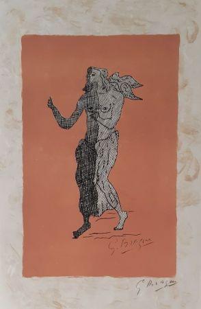 Lithograph Braque - Personnage sur fond rose