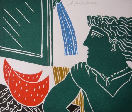 Linocut Fassianos - PERSONNAGE VERT