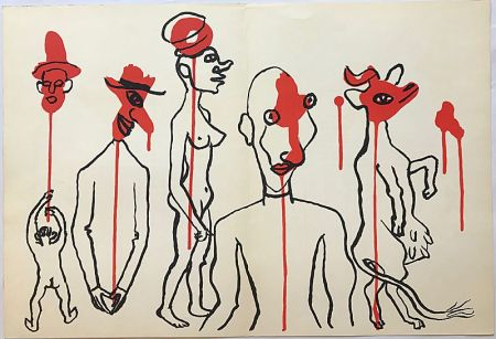 Lithograph Calder - Personnages I (1966)