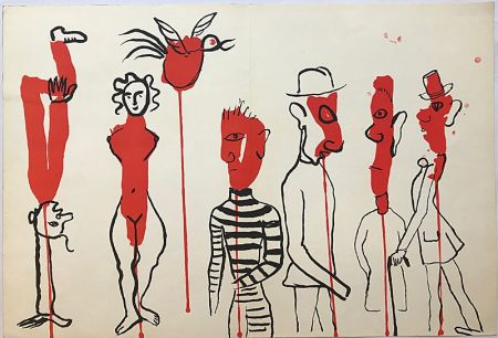 Lithograph Calder - Personnages II (1966)