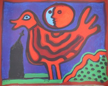 Lithograph Corneille - Petit oiseau rouge