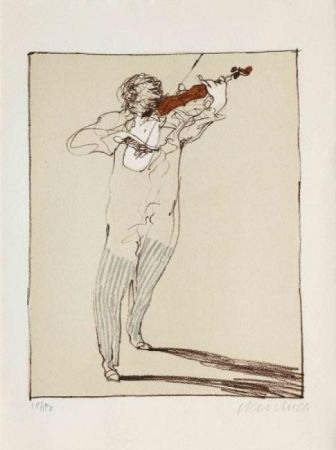 Lithograph Weisbuch - Petit violoniste