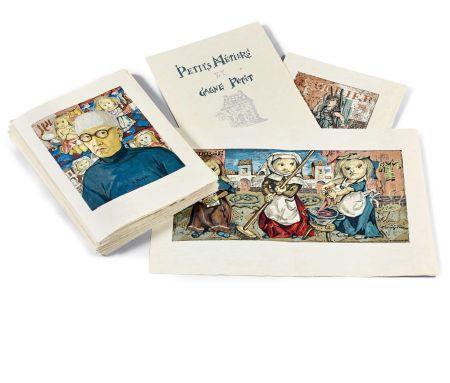 Illustrated Book Foujita - PETITS MÉTIERS ET GAGNE-PETIT. Avec suite couleurs et soie signée (1960)