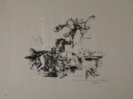 Lithograph Luckner - Pferdetränke