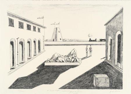 Lithograph De Chirico - Piazza d'Italia