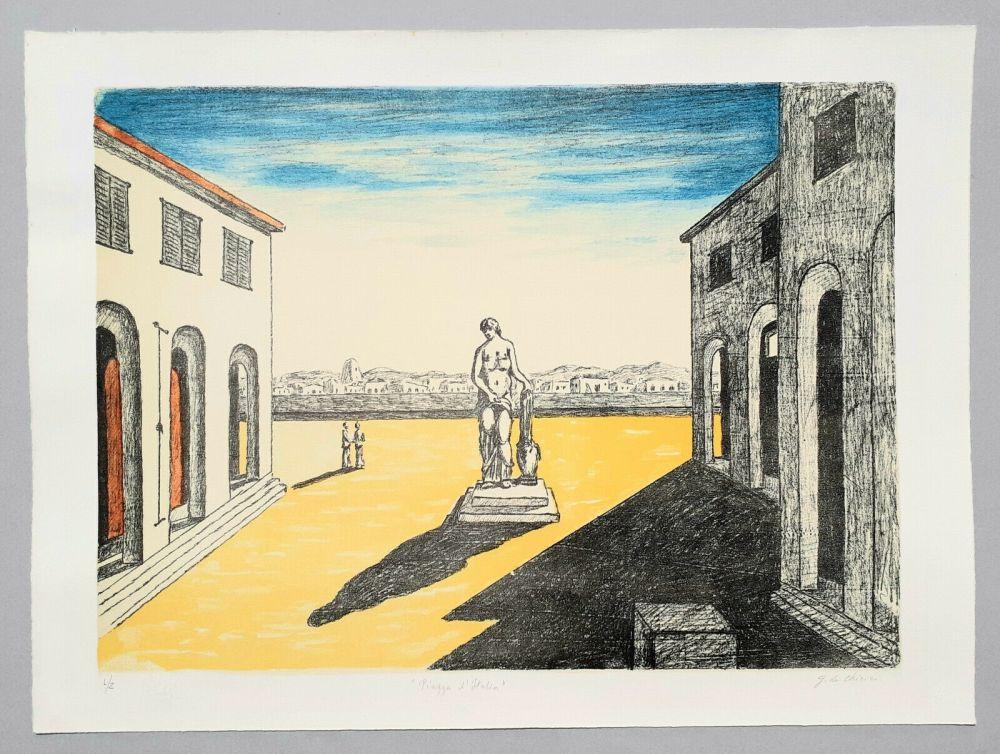 Lithograph De Chirico - Piazza d'Italia con efebo