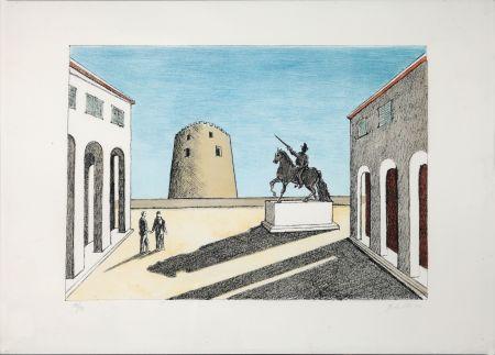Lithograph De Chirico - Piazza d'Italia con statua equestre
