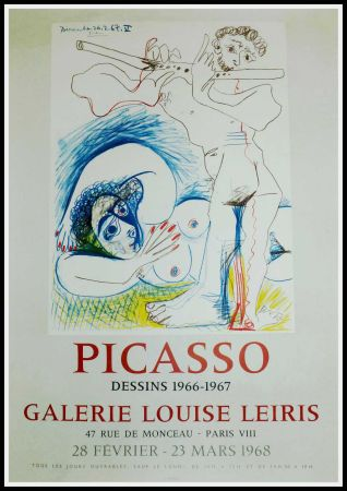 Poster Picasso - PICASSO, DESSINS 1966-1967 GALERIE LEIRIS 1968